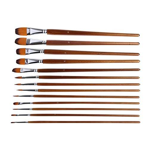 SJYDQ 13pcs Artista Pintura Pincel Conjunto Nylon Pelo Acuarela Pintura al óleo acrílico Dibujo
