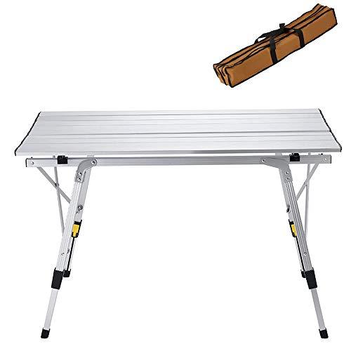 WANGY Mesa de Aluminio de Mesa Plegable de Picnic, Mesa de Comedor al Aire Libre Utilizada para Mesa de Picnic/Banquete/Fiesta de Picnic/de jardín de Altura de Barbacoa Ajustable (Plata) (Size : 2)