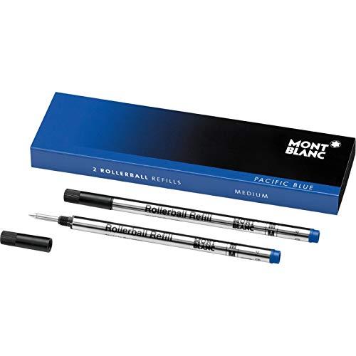 Montblanc 124504 Recambios de punta mediana para Rollerball – Recargas de alta calidad Royal Blue, 1 paquete x 2 Recargas
