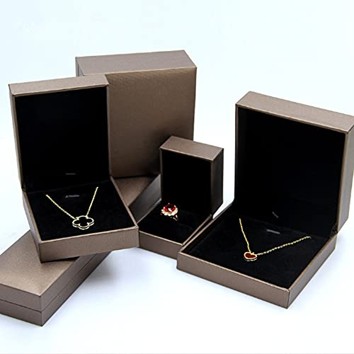 Anillo de papel de cuchillo artificial marrón pulsera cadena collar caja de exhibición joyería llevar terciopelo exhibición grande caja colgante
