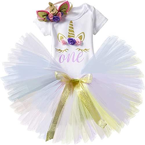 TTYAOVO Bebé Niña 1er cumpleaños 3pcs con Diadema Unicornio y Mameluco y Faldas Tamaño 1 año Púrpura