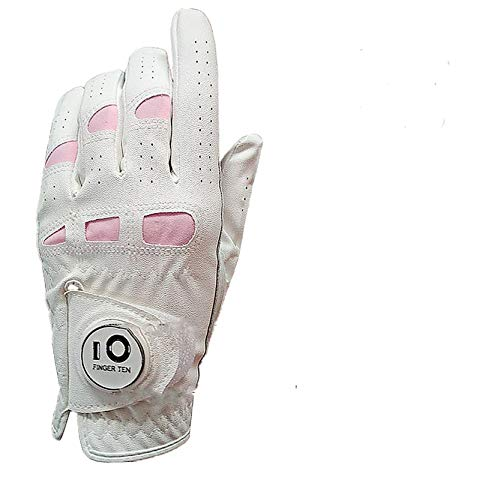 Finger Ten - Guantes de golf para mujer (mano izquierda y derecha, con marcador de bola, piel cabretta, ajuste cómodo, talla S, M, L, XL), small