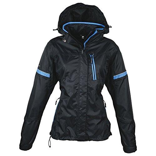 Schwarzwolf outdoor Veste Coupe-Vent pour Femme - Tissu extérieur - Colonne d'eau : 30 000 mm - Respirabilité : 6 500 MVP - Capuche Amovible - Bonete - Noir
