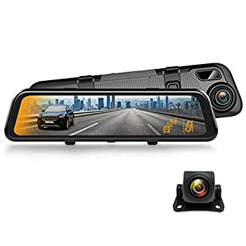 """REXING M2 Smart BSD ADAS Dual Mirror Dash CAM 12"""" IPS Touch Screen 1080p  Front+Rear ,GPS,Stream Media Parking Monitor Night Vision,Blind SPOT Detection Backup Camera for CAR Pick UP Truck Taxi"""