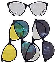 by THEMA Linea 99 JOHN ST NYC 4 CLIPON magnetici ROTONDA con filtri Ultem 243 Montatura per occhiali da vista M02 Nero Opaco UNISEX sole polarizzati, drive//relax e luce blu