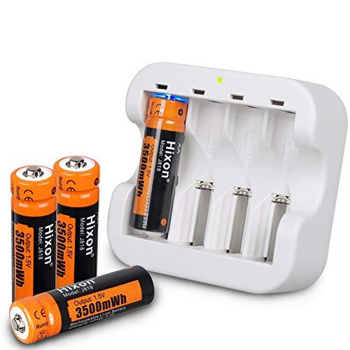 Hixon Akku AA wiederaufladbare Li-Ion Batterien 1,5 V 3500 mWh für Xbox Controller Spielzeug Fernbedienung, Set mit 4 Batterien und Schnellladegerät