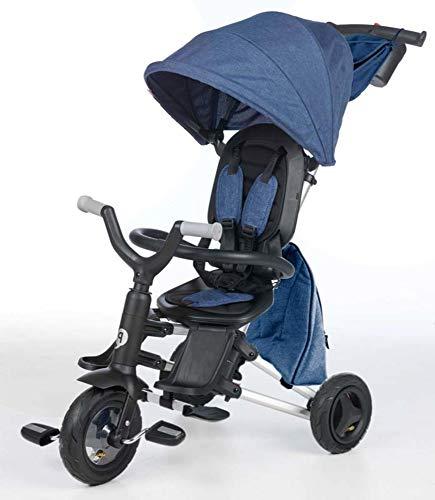 QPLAY - Triciclo Bebe Nova+ Azul - Evolutivo - Plegable - Arnés de Seguridad - Capota con protección UV - Ideal para niños de 10 a 36 Meses (máximo 25 Kg)