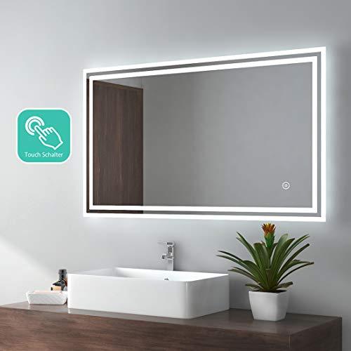 EMKE LED Badspiegel 100x60cm Badezimmerspiegel mit Beleuchtung kaltweiß Lichtspiegel Wandspiegel mit Touchschalter IP44 energiesparend