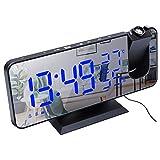 Digital Projektionswecker Radio-Wecker mit USB Anschluss, Funkuhr mit Projektion Dual-Alarm Modi 12 H/ 24H LED-Anzeige 180° Projektor für Schlafzimmer Büro Geschenk (Schwarze Schale & Blaue LED)