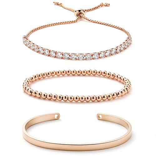 Starain Tennis Bracelets for Women White Cubic Zirconia Bling Bracelet,Rose Gold Copper Beaded Bracelet Cuff Bracelet Set