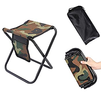 MingSo Mini Portable Folding Stool Camping Fishing Stool for Adults Fishing Hiking Gardening and Beach with Carry Bag Hold Up to 450lbs [Camouflage]