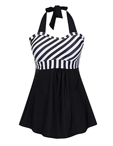 FeelinGirl Vestido de Traje de Baño Hálter Una Pieza Talla Grande con Pantalones Seguros para Mujer Morado M(Talla 38-40)