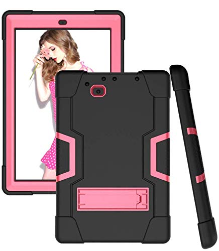 """Koolbei for RCA 10 Viking Pro 10.1""""(RCt6a03w13)/Atlas Pro 10.1 Case Hybrid Shockproof Rugged Anti-Impact Drop Protection Cover Built with Kickstand(Black/Pink)"""