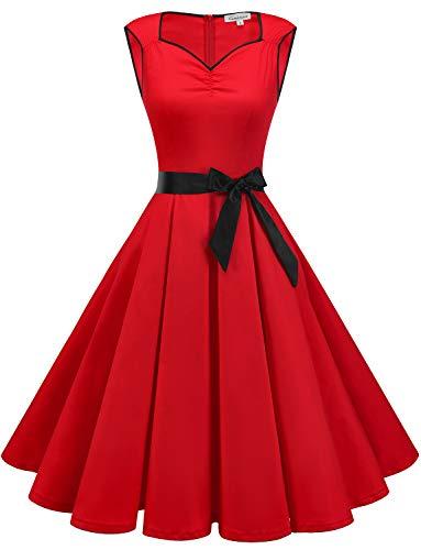 Gardenwed Mujer Retro Años 1950s Vintage Vestido de Cóctel Vestidos Corto Fiesta 50s 60s Rockabilly Red XL