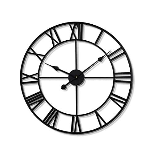 ADEPTNA Neue große Metall Skelett römische Ziffern Wanduhr - Dekorative Uhr für Schlafzimmer Wohnzimmer Küche Home Loft Office Den Pub Bar Farmhouse Hotel Decor (60cm)