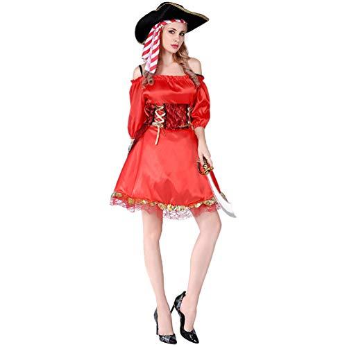 YuanDian Herren Damen Paare Halloween Pirat Kostüm Sets Karneval Einfache Verkleidung Outfit Piraten Kleider Erwachsene Cosplay Karneval Faschings Kostüm 16# Weiblicher Kapitänin Pirat 160-175cm