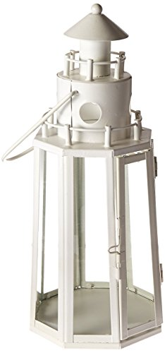 Zings & Thingz 57071636 Ivory Lighthouse Candle Lantern, White