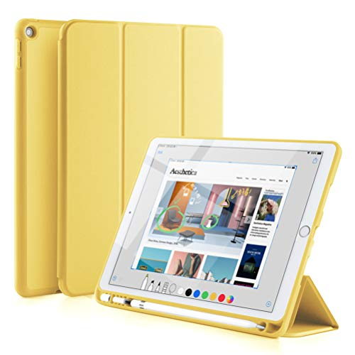 GUDOU New iPad 2017/2018 Trifold Smart Case with Pencil Holder, Premium PU Leather+Soft Silicone Back Shell Stand Cover with Auto Sleep/Wake,Protective for Apple iPad 5th/6th Gen 9.7' (Yellow)