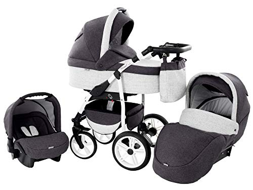 Kinderwagen Babywagen Kombikinderwagen Zeo Wind 3 in 1 Komplettset mit Zubehör 0-3 Jahre 0-15 kg Insektenschutz Einkaufstasche Regenschutz Getränkehalter Buggy Autositz (46)