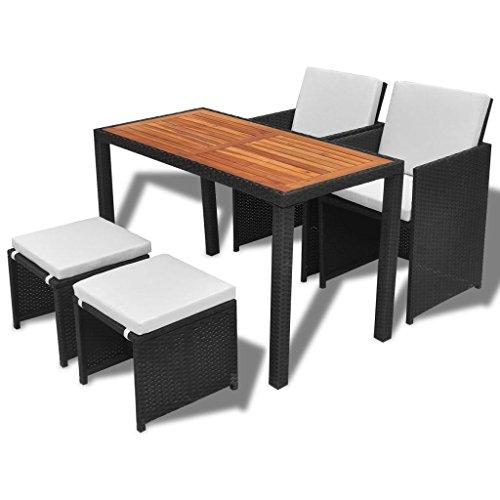 vidaXL Akazienholz Gartenmöbel 5-TLG. Gartenset Sitzgruppe Sitzgarnitur Gartengarnitur Gartentisch Tisch Esstisch Stühle Poly Rattan Schwarz