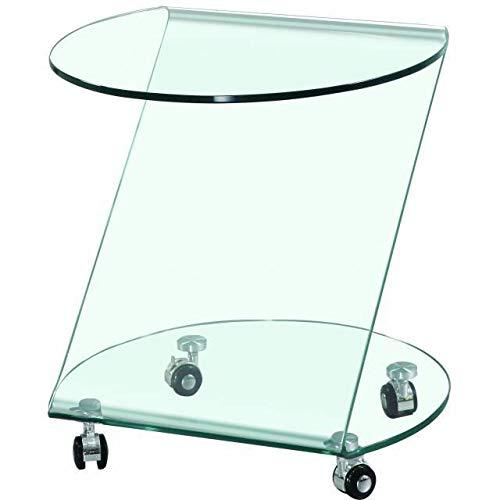 KITKAY Mesita, Mesa Auxiliar de Cristal Transparente semicircular con Ruedas