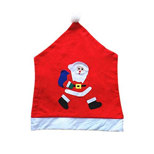Serria® Vlies Stuhlhusse Nikolausmütze Stickerei Stuhl Nikolaus Weihnachten Weihnachtsmann Husse Deko 65 * 50cm C