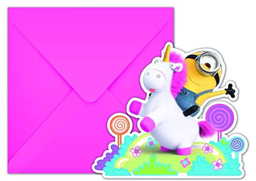 Neu: 6 Einladungen * Fluffy * für Den Kindergeburtstag | Minions Ich Einfach unverbesserlich Einhorn Mottoparty Motto Kinder Geburtstag Einladungskarten