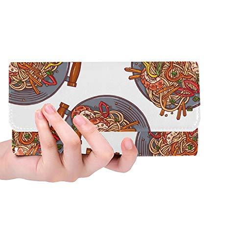 Einzigartige benutzerdefinierte asiatische Essen Wok Pan Frauen Trifold Brieftasche Lange Geldbörse Kreditkarteninhaber Fall Handtasche