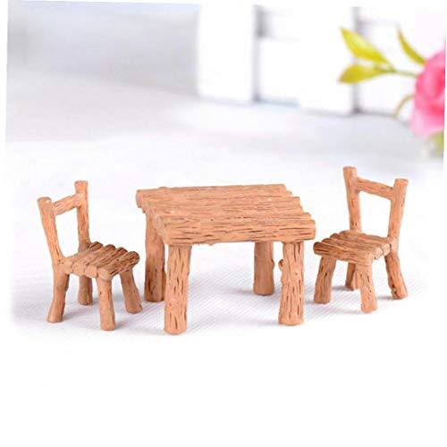3pcs / Set Chaises Tables Résine Miniatures Accessoires Micro Paysage Décoration D'intérieur Décorations Extérieures pour Patio Bureau Maison