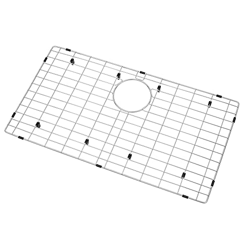 """LQS Kitchen Sink Grid, Sink Protectors for Kitchen Sink 28 3/8"""" x 15 3/8"""" with Rear Drain Hole for Single Sink Bowl, Stainless Steel Sink Grate, Sink Protector, Sink Bottom Grid"""