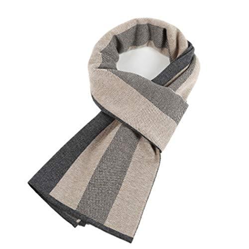 YONGYONG-scarf Warmer Karierter Verdickungsgeschäft des Neuen Koreanischen Mannschalwinters Stricken Wollschal-Geschenkbox (Color : Rice ash)