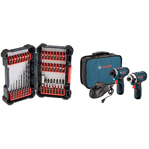 Bosch 40 Piece Impact Tough Drill Driver Custom Case System Set DDMS40 with Bosch CLPK27-120 12V Max 2-Tool Combo Kit (Drill/Driver and Impact Driver) with 2 Batteries, Charge