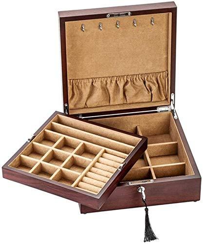 UGJ Caja Joyero Chino, Joyero con la Cerradura Artesanías De Laca Pintada Caja de Almacenamiento Antiguo de Madera Maciza de Palo Rosa