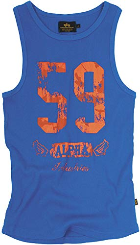 Original Alpha Industries Big 59 Tank Shirt blau - USA - High Quality Print - PRIME Versand, Farbe:Blau;Größe:L