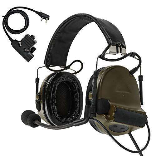 TAC-SKY COMTA II - Casco antirruido de Tir electrónico con protección auditiva con orejeras de silicona y micrófono para deportes y caza Airsoft al aire libre (verde ejército)