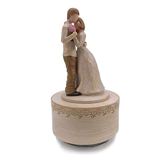AMYZ Love statues for couples decorations,rotating music box with wood carving imitation character decoration,creative festive home for birthday gift desktop decoration,natural