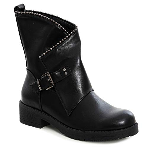 Toocool G609 - Botas Bajas de Motorista para Mujer Negro Size: 37 EU