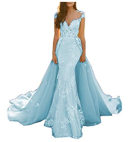 Lace Applique Detachable Train Mermaid Prom Dress Illusion Back Formal Party Evening Gowns Blue
