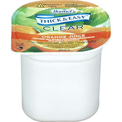 Thick & Easy Thickened Beverage 4 oz. Portion Cup Orange Juice Flavor Ready to Use Honey Consistency, 32192 - Case of 24