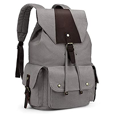 Kattee Canvas Backpack for Men Women Casual Leather Travel Backpack Hiking Backpack School Rucksack
