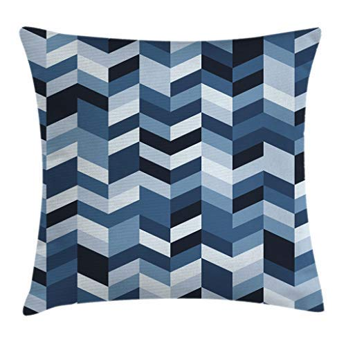 Throw Pillow Cover, Navy Throw Pillow Cushion Cover, Soft Pastel Toned Modern Herringbone Pattern with Zigzag Twisty Stripes Image, Decorative Square Accent Pillow Case 26' x 26', Dark and Slate Blue