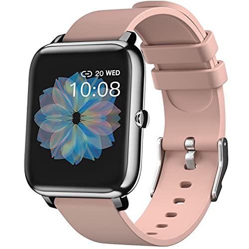 IDEALROYAL SmartWatch, Reloj Inteligente con Pantalla táctil IP68,Monitor de Sueño,Control de Musica,Pulsera Actividad Inteligente,Reloj Inteligente para Android e iOS (Rosa)