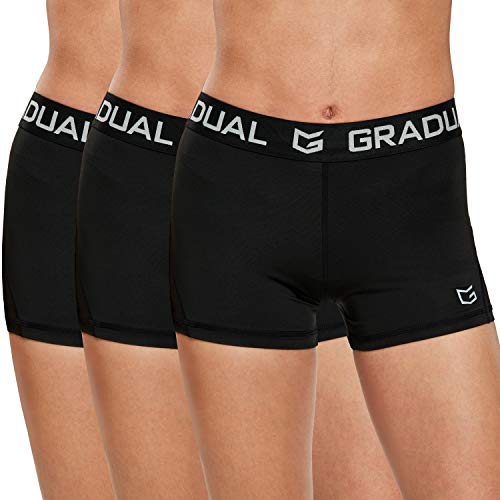 """Women's Spandex Compression Volleyball Shorts 3"""" /7"""" Workout Pro Shorts for Women (3 Pack:Black/Black/Black, XL)"""