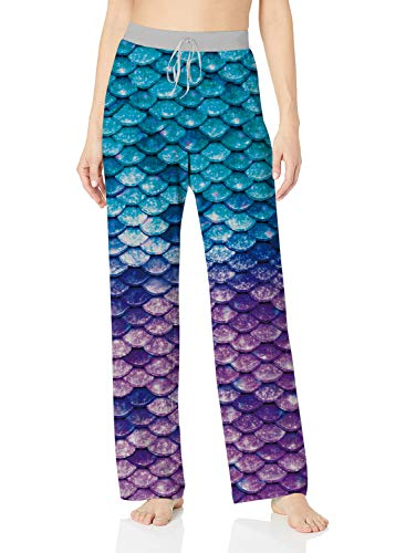 ALISISTER Mermaid Pajamas Women Palazzo Lounge Pants Stylish Loose Petite Yoga Bottoms Wide Leg with Elastic Drawstring Long Home Sleepwear Lightweight XL Blue Purple