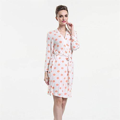 Crystallly Soft Touch Mujeres Modal Patrón De Naranja Albornoz Puntos Pijamas Estilo Simple Camisón Bata Blanca M Pijamas Inicio Recorrido De La Manera Pijamas Cómodos (Color : Blanco, Size :