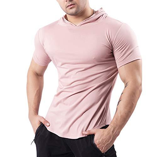 Niazi Camiseta de manga corta con capucha para hombre, de verano, para gimnasio, deporte, ajustada, con capucha, ropa deportiva