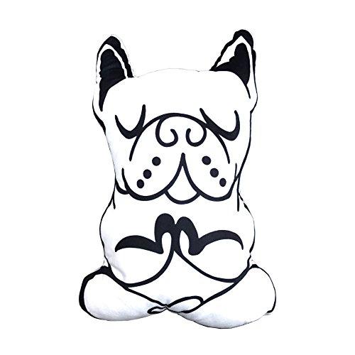 French Bulldog Yoga Meditation White Cushion Pillow for Interior Chic Decoration