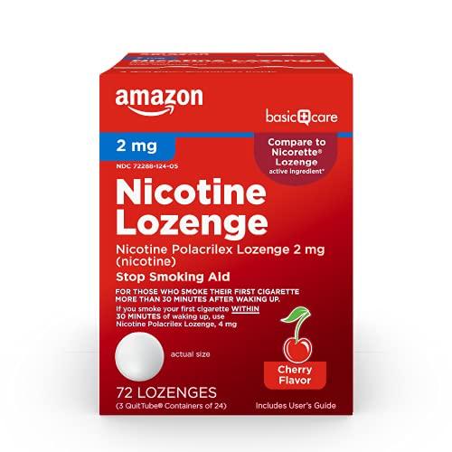 Basic Care Nicotine Polacrilex Lozenge, 2 mg (Nicotine), Stop Smoking Aid, Cherry Flavor, 72 Count