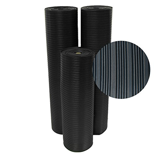 Rubber-Cal 03_168_W_CO_15 Composite Rib Corrugated Rubber Floor Mats, 48