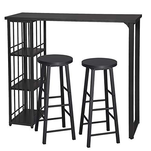 eSituro Juegos de Muebles Altas 1 Comedor Mesa y 2 Taburetes de Bar, Mesa de Bar Mesa de Cafetería Barra Cocina con Estructura de Metal con 3 Estantes 120x40x105cm Negro SBST0402+SBST0329-2